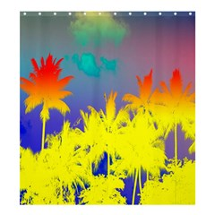 Tropical Cool Coconut Tree Shower Curtain 66  x 72  (Large)