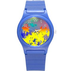 Tropical Cool Coconut Tree Round Plastic Sport Watch (S)