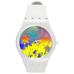 Tropical Cool Coconut Tree Round Plastic Sport Watch (M)