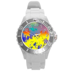 Tropical Cool Coconut Tree Round Plastic Sport Watch (L)