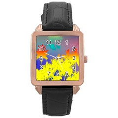 Tropical Cool Coconut Tree Rose Gold Leather Watch