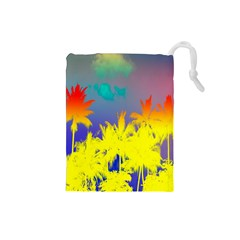 Tropical Cool Coconut Tree Drawstring Pouches (Small)