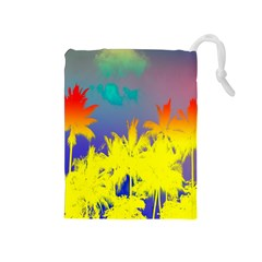 Tropical Cool Coconut Tree Drawstring Pouches (Medium)