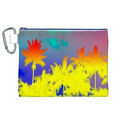 Tropical Cool Coconut Tree Canvas Cosmetic Bag (XL)