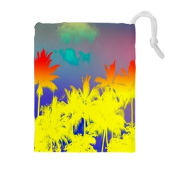 Tropical Cool Coconut Tree Drawstring Pouches (Extra Large)