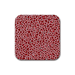 Tangled Thread Red White Rubber Square Coaster (4 pack)