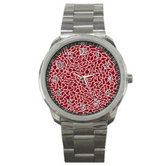 Tangled Thread Red White Sport Metal Watch