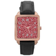 Tangled Thread Red White Rose Gold Leather Watch