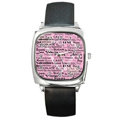 Valentine Love Heart Roses Sweet Pink Square Metal Watch