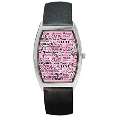 Valentine Love Heart Roses Sweet Pink Barrel Style Metal Watch