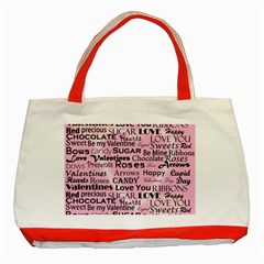 Valentine Love Heart Roses Sweet Pink Classic Tote Bag (Red)
