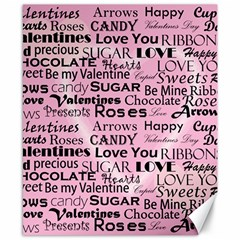 Valentine Love Heart Roses Sweet Pink Canvas 8  x 10
