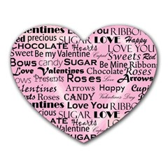 Valentine Love Heart Roses Sweet Pink Heart Mousepads
