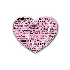 Valentine Love Heart Roses Sweet Pink Heart Coaster (4 pack)