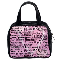 Valentine Love Heart Roses Sweet Pink Classic Handbags (2 Sides)