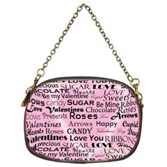 Valentine Love Heart Roses Sweet Pink Chain Purses (Two Sides)