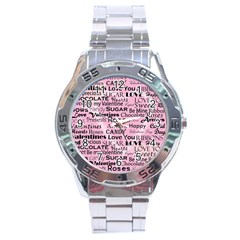 Valentine Love Heart Roses Sweet Pink Stainless Steel Analogue Watch
