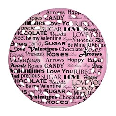 Valentine Love Heart Roses Sweet Pink Round Filigree Ornament (Two Sides)