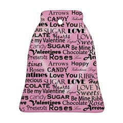 Valentine Love Heart Roses Sweet Pink Bell Ornament (Two Sides)