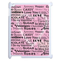 Valentine Love Heart Roses Sweet Pink Apple iPad 2 Case (White)
