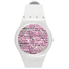 Valentine Love Heart Roses Sweet Pink Round Plastic Sport Watch (M)