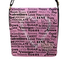 Valentine Love Heart Roses Sweet Pink Flap Messenger Bag (L)