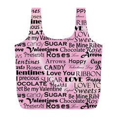 Valentine Love Heart Roses Sweet Pink Full Print Recycle Bags (L)