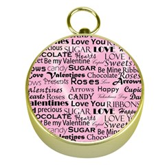 Valentine Love Heart Roses Sweet Pink Gold Compasses