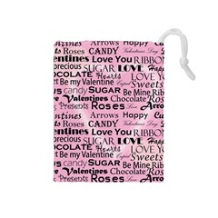 Valentine Love Heart Roses Sweet Pink Drawstring Pouches (Medium)