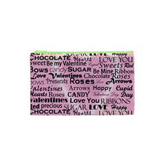 Valentine Love Heart Roses Sweet Pink Cosmetic Bag (XS)