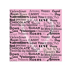 Valentine Love Heart Roses Sweet Pink Small Satin Scarf (Square)