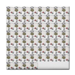 Cow Eating Line Tile Coasters