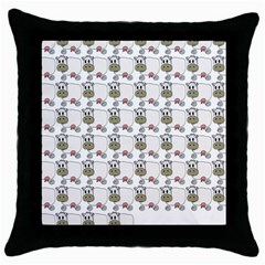 Cow Eating Line Throw Pillow Case (Black)