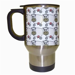 Cow Eating Line Travel Mugs (White)