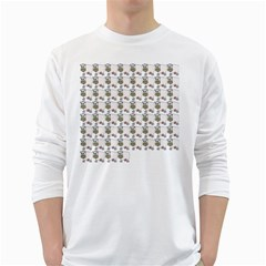 Cow Eating Line White Long Sleeve T-Shirts
