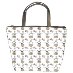 Cow Eating Line Bucket Bags