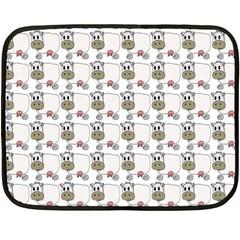 Cow Eating Line Double Sided Fleece Blanket (Mini)