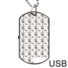Cow Eating Line Dog Tag USB Flash (Two Sides)