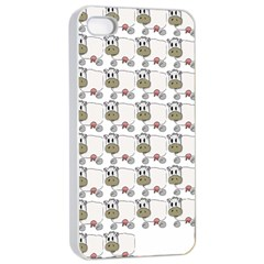 Cow Eating Line Apple iPhone 4/4s Seamless Case (White)