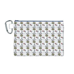 Cow Eating Line Canvas Cosmetic Bag (M)