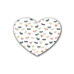 Dragonflies Animals Fly Rubber Coaster (Heart)