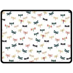 Dragonflies Animals Fly Fleece Blanket (Large)