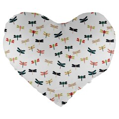 Dragonflies Animals Fly Large 19  Premium Heart Shape Cushions