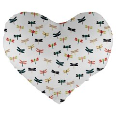 Dragonflies Animals Fly Large 19  Premium Flano Heart Shape Cushions