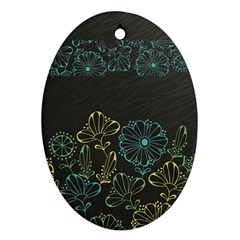 Elegant Floral Flower Rose Sunflower Ornament (Oval)