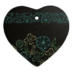 Elegant Floral Flower Rose Sunflower Ornament (Heart)