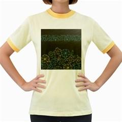 Elegant Floral Flower Rose Sunflower Women s Fitted Ringer T-Shirts