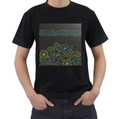 Elegant Floral Flower Rose Sunflower Men s T-Shirt (Black) (Two Sided)