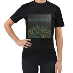 Elegant Floral Flower Rose Sunflower Women s T-Shirt (Black)