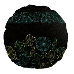 Elegant Floral Flower Rose Sunflower Large 18  Premium Round Cushions